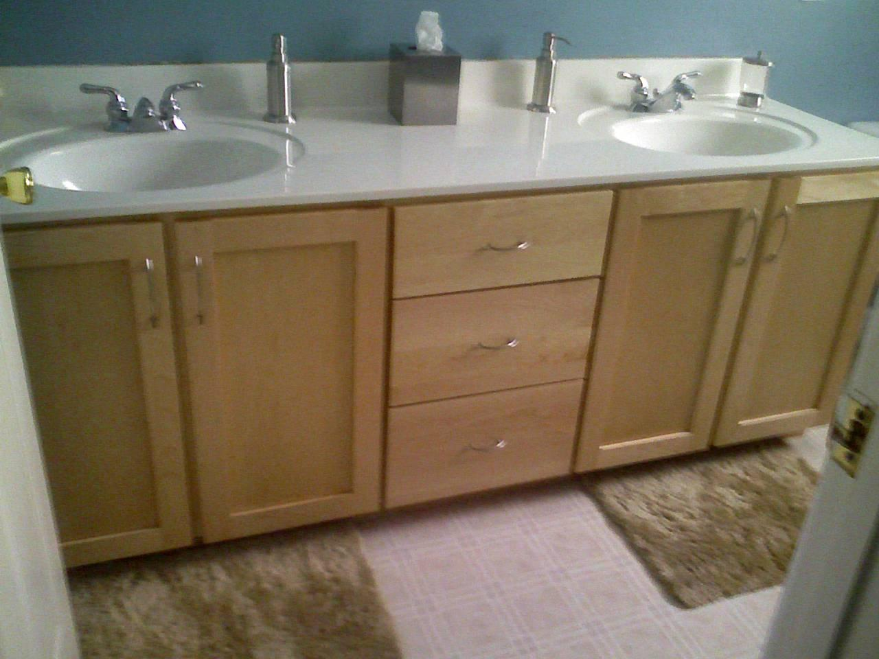 Custom cabinets refacing tops our work for Refacing bathroom cabinet doors